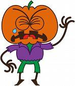 foto of bulge  - Cute scarecrow with a big orange pumpkin as head - JPG