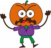 stock photo of bulge  - Angry scarecrow with a big orange pumpkin as head - JPG