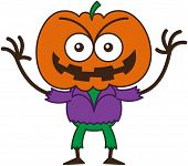 image of maliciousness  - Mischievous scarecrow with a big orange pumpkin as head - JPG