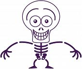 stock photo of bulge  - Mischievous skeleton with big head and bulging eyes while posing - JPG