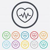 stock photo of heartbeat  - Heartbeat sign icon - JPG