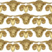pic of ram  - Sketch bull and ram head in vintage style seamless pattern - JPG
