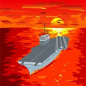 image of float-plane  - Aircraft carrier floating on waves with plane flying up from it a vector illustration - JPG