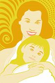 foto of mother daughter  - illustration drawing of a mother hugging her lovely daughter - JPG