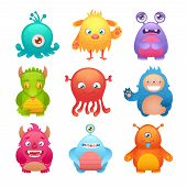 stock photo of creatures  - Cute cartoon monsters funny alien character icons set isolated vector illustration - JPG