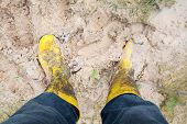 stock photo of dingy  - Human leg with Yelkow Muddy rubber boots on wet silt - JPG