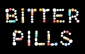 pic of bitters  - BITTER PILLS written with tablets - JPG