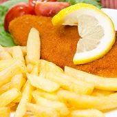 foto of wieners  - wiener schnitzel with french fries close up  - JPG