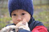 pic of catnip  - Boy in warm clothes hugging little kitten - JPG