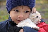 pic of catnip  - Smiling boy in warm clothes hugging little kitten - JPG