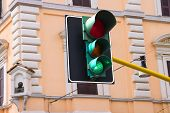 pic of tabernacle  - Traffic lights at the crossroads of the city is lit green