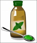 picture of cough syrup  - Therapeutic mint cough syrup in a glass bottle - JPG