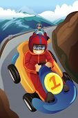 picture of karts  - A vector illustration of kids racing in a go - JPG