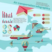 stock photo of air transport  - Air transport flat infographic set with airplane helicopter hot air balloon vector illustration - JPG