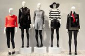 picture of mannequin  - Five mannequins in a clothing store dressed in a fall style - JPG