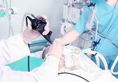 picture of endoscopy  - endoscopic reception at the hospital. Work with medical equipment.