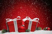 picture of balls  - Christmas gift box and balls on snow - JPG