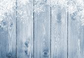 picture of winter  - Blue wood texture with snow christmas background - JPG