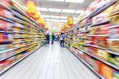 stock photo of supermarket  - supermarket aisle - JPG