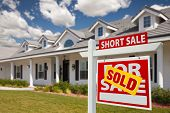 picture of yard sale  - Sold Short Sale Home For Sale Real Estate Sign in Front of New House  - JPG