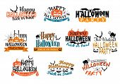 stock photo of ghoul  - Different Halloween party designs for Happy Halloween parties decorated with bats - JPG