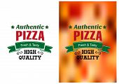 Постер, плакат: Two Pizza badges or labels