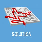 image of maze  - Labyrinth puzzle or maze with two solutions shown with red arrows - JPG