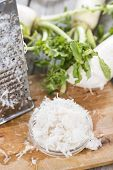 stock photo of grated radish  - Fresh grated Horseradish on wooden background  - JPG