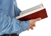 image of bible verses  - Man holding Bible isolated on white - JPG
