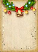 picture of christmas bells  - Vintage vector card with Christmas tree garland - JPG
