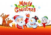 foto of snowman  - Christmas background with Santa Claus - JPG