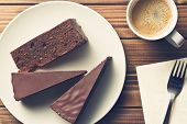 image of tort  - top view of sacher cake and coffee - JPG