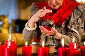stock photo of witch ball  - Female Fortuneteller or esoteric Oracle - JPG