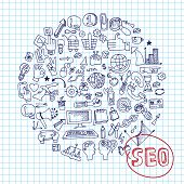 picture of drow  - Doodle hand drow circle composition sketchy seo  icons on Notepaper - JPG