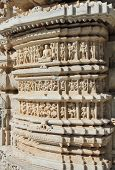 picture of jainism  - hinduism ranakpur temple fragment in rajasthan india - JPG