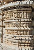 image of jainism  - hinduism ranakpur temple fragment in rajasthan india - JPG