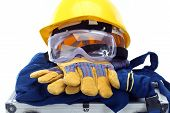 picture of personal safety  - Safety equipment set close up on white - JPG