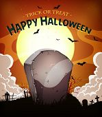 stock photo of tombstone  - Illustration of a cartoon halloween holidays spooky horror background with tombstone inside graveyard fog full moon and bats - JPG