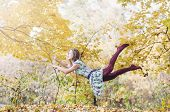 image of levitation  - Levitation portrait of young woman in the forest - JPG