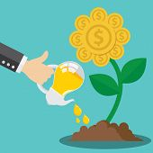 picture of golden coin  - Business hand use light bulb watering golden flower coin plant - JPG