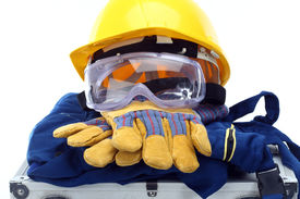 stock photo of personal safety  - Safety equipment set close up on white - JPG