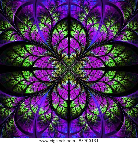 Symmetrical Fractal Pattern green and purple abstract tree foliage