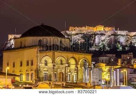 Tzistarakis Mosque And Acropolis Of Athens - Greece