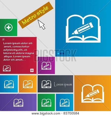 Book Sign Icon. Open Book Symbol. Set Of Colored Buttons. Vector