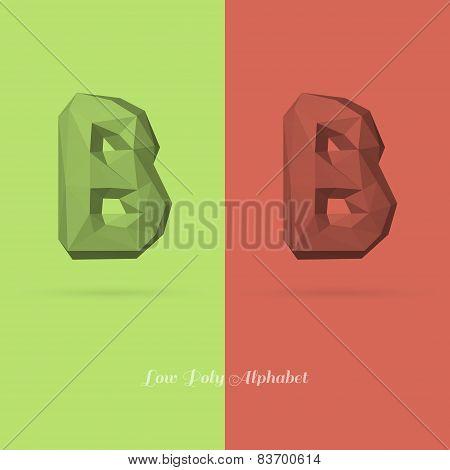 Polygonal Flat Alphabet Letter B