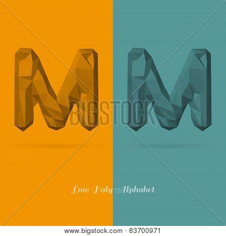 Polygonal Flat Alphabet Letter M