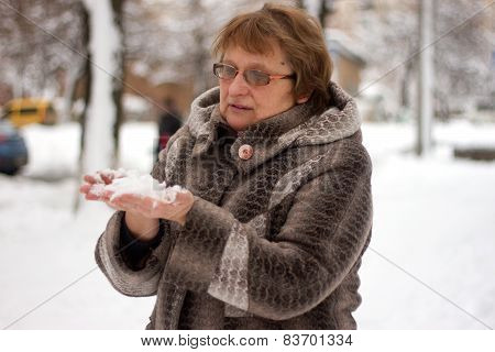 Mature Woman In Winter Clothes
