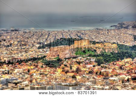Macro Effect: The Acropolis Of Athens From Mount Lycabettus - Greece