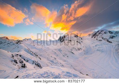 Sunrise behind Monte Rosa