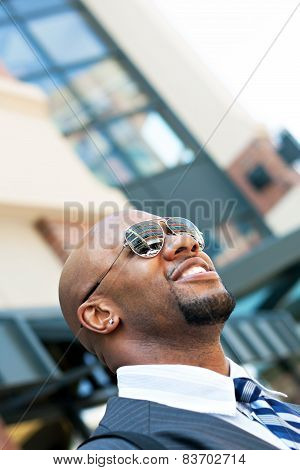 Handsome African American Business Man In the City